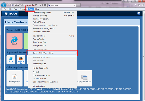 IE Compatibility Mode   SOLE Help